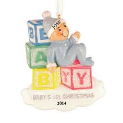 Baby Blocks Boy Personalized Christmas Ornament