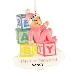 Baby Blocks Girl Personalized Christmas Ornament