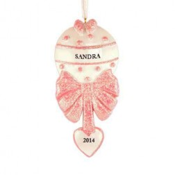 Baby Rattle Girl Personalized Christmas Ornament