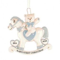 Rocking Horse Boy Personalized Christmas Ornament
