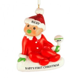 Sitting Baby Christmas Personalized Ornament