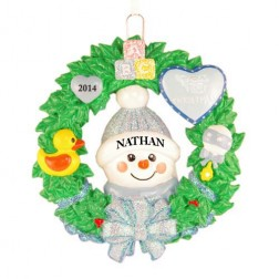 Snow Baby Wreath Boy Personalized Christmas Ornament
