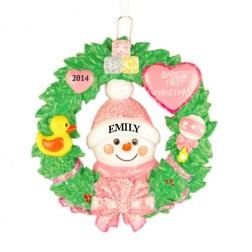 Snow Baby Wreath Girl Personalized Christmas Ornament
