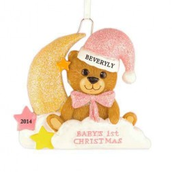 Baby Bear Moon Girl Personalized Christmas Ornament