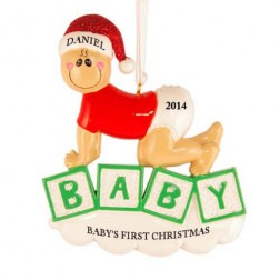 Baby Crawling Christmas Personalized Ornament