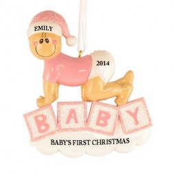 Baby Crawling Girl Personalized Christmas Ornament