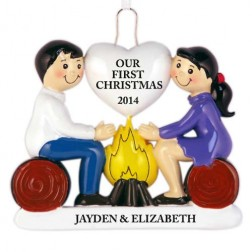 Fire of Love Couple Personalized Christmas Ornament