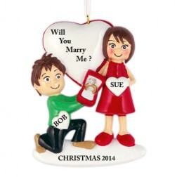 """Yes I Do"" Couple Personalized Christmas Ornament"