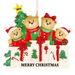 Bear Love Family of 4 Personalized Christmas Ornament