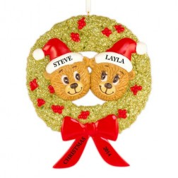 Bear Wreath Family of 2 Personalized Christmas Ornament