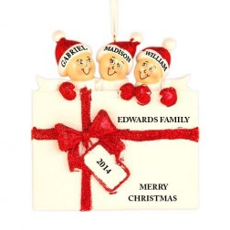 Surprise Gift Box Family of 3 Personalized Christmas Ornament