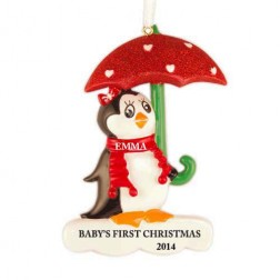 Penguin with Umbrella Red Personalized Christmas Ornament