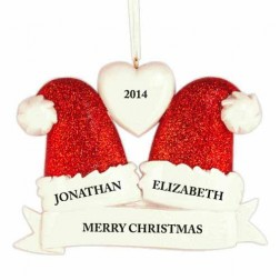 Santa Hat Family of 2 Personalized Christmas Ornament