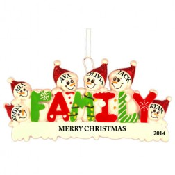 Snow Family of 6 Personalized Christmas Ornament