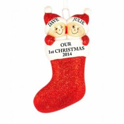 Stocking Family of 2 Personalized Christmas Ornament