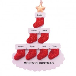 Stocking Tree 7 Family Personalized Ornament