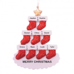 Stocking Tree 9 Family Personalized Ornament