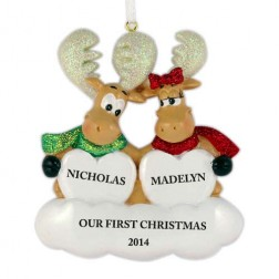Sweet Moose Family of 2 Personalized Christmas Ornament