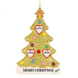 Tree Love Family of 3 Personalized Christmas Ornament