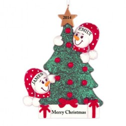 Tree Snowman Family of 2 Personalized Christmas Ornament
