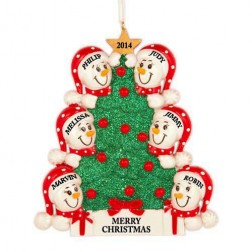 Tree Snowman Family of 6 Personalized Christmas Ornament