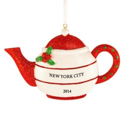 Holly Teapot Red Personalized Christmas Ornament