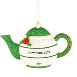 Holly Teapot Green Personalized Christmas Ornament