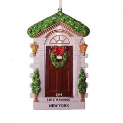 Brown Door Personalize Christmas Ornament