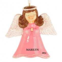 Angel Girl Pink Personalized Christmas Ornament