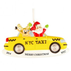 Santa and Reindeer Taxi Personalized Christmas Ornament