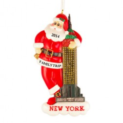 Santa with Empire State Personalized Christmas Ornament