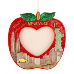 NYC Picture Frame Apple Personalized Christmas Ornament