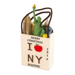 NY Shopping Bag 3D Personalized Christmas Ornament