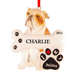 Bulldog Personalized Christmas Ornament