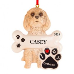 Cockapoo Dog Personalized Christmas Ornament