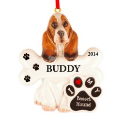 Basset Hound Dog Personalized Christmas Ornament