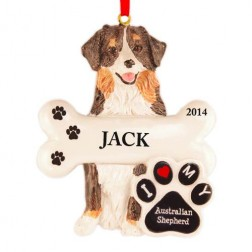 Australian Shepherd Dog Personalized Christmas Ornament