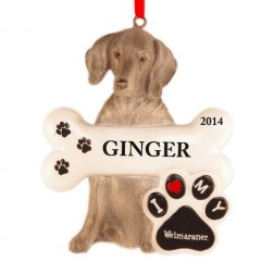 Weimaraner Dog Personalized Christmas Ornament