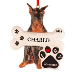 Doberman Dog Personalized Christmas Ornament