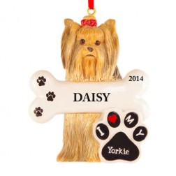 Yorkie Dog Personalized Christmas Ornament