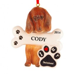 Dachshund Dog Personalized Christmas Ornament
