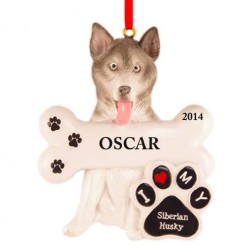 Siberian Husky Dog Personalized Christmas Ornament
