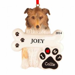 Collie Dog Personalized Christmas Ornament
