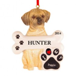 Puggle Dog Personalized Christmas Ornament