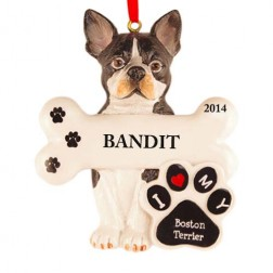 Boston Terrier Dog Personalized Christmas Ornament