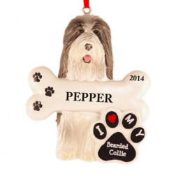 Bearded Collie Dog Personalized Christmas Ornament