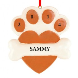 Heart Paw Brown Personalized Christmas Ornament