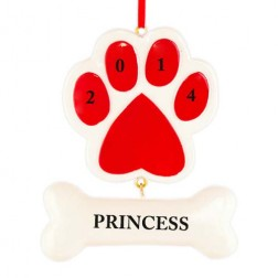 Paw with The Bone Red Personalized Christmas Ornament