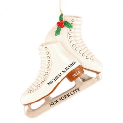 Holly Skates Personalized Christmas Ornament