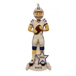 American Football Blue Personalized Christmas Ornament
